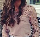 Womens Casual Long Sleeve Shirt Lace Crochet Tee Chiffon Shirt Loose Tops Blouse