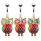 Surgical Steel Colourful Epoxy Owl with CZ Eyes Dangle Belly Bar