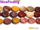 "Natural Stone Mookite Jasper Beads For Jewelry Making Drip Gemstone 15"" 13x18mm"