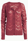 La Redoute Dark Coral Brick Red Lace Effect Soft Knit Cardigan Sizes 16 - 22