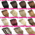 "Clips In 100% Real Human Hair Extensions 15""18""20"" 7Pcs/Set"