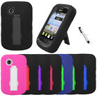 For LG 306G Cover Kickstand Double Layer Hard Soft Case + Stylus
