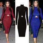Celebrity Women Long Sleeve Sexy Bodycon Party Tunic Pencil Midi Dress Plus Size