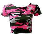 NEW LADIES NEON PINK CAMOUFLAGE CAP SLEEVE JERSEY T SHIRT CROP TOP SIZE 6-12