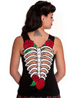 Hell Bunny Skelerose Vest Tank Top Black Goth Psychobilly Skeleton Rose Tattoo