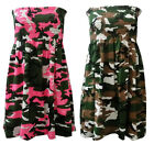 NEW LADIES NEON CAMOUFLAGE PRINT SHEARING BANDEAU TUNIC DRESS TOP SIZE 8-12