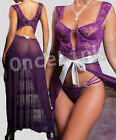 Sexy Lingerie Purple Sheer Babydoll Long Chemise Gown Bra Under-wired String Set