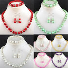 7 Color Manmade Glass Pearl Round Beads Necklace & Bracele & Earring 1 SET