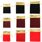 25Pcs Gold Trim Drawstring Gift Bags Jewelry Pouches Velvet New 7x9cm 12x15cm