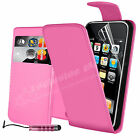 Leather Wallet Flip Case Cover For iPhone 3GS Free Screen Protector & Stylus