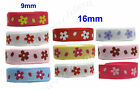 "9mm 16mm 22mm Daisy Mother's Day Grosgrain Ribbon 3/8"" 5/8"" 7/8"" Eco Quality"