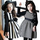 2015 Spring Girl Kid Baby Dress Princess Plaid Stripped Check Top Ruffle Skirts