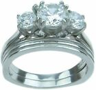3 Day SALE 2Pc Stainless Steel Cz Engagement Bridal Wedding Band Ring Set Size 7