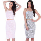 AG91 Ladies Floral Print Crop Top Bodycon Skirt Womens Two Piece Set