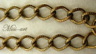 VINTAGE NOS Brass Plated Chain Textured Wavy Ovals ALL Sizes Necklace Miss-art