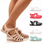 LADIES WOMENS BOW JELLY SANDALS FLAT JELLIES DIAMANTE HOLIDAY SUMMER SHOES SIZE