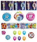 10th Birthday AGE 10 - Large Range of Party BALLOONS - Foil/Latex/Airfill/Helium