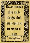 A4 Parchment Poster Quote Abraham Lincoln - SILENT - Greeting Card Option