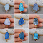 Simple Blue Agate Druzy Geode Connector / Electroformed Gemstone / Golden HG0541