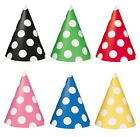 8 CONE Party HATS - POLKA DOT Spots Dots Decoration Birthday Celebration