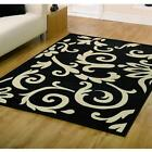 Retro Classics 8033 Black Ivory Flair Rugs Modern Stylish Floral Design Mat Rug