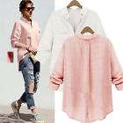 Celeb V Neck Irregular Hem Pocket Linen Shirt Loose Baggy Boyfriend Top Blouse