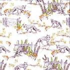 FOXES IVORY - WILDLIFE BY MAKOWER INPRINT 100% COTTON FABRIC FOX