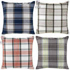 "TARTAN CHECK CUSHION COVER THICK HEAVY 18""x18"" BLUE GREEN WINE NATURAL"
