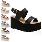 Womens High Platform Ladies Summer Wedge Buckle Strappy Sandals Shoes Size 3-8