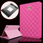 Luxury Crown Leather Smart Case Stand Cover For Apple iPad Air 2 (2014) + Stylus
