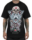 Sullen Clothing Wolf Badge Mens T Shirt Black Skull Tattoo Goth Tee