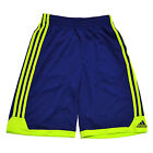 Adidas Shorts Boys Kids Sport Track Solid Blue Neon Green New Polyester V330