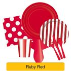 RUBY RED TABLEWARE -  Plates/Cups/Napkins/Tablecovers/Bags/Balloons