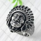 4Size US9/10/11/12 Indian Chief Apache Stainless Steel Men's Finger Ring 1pc