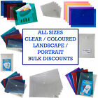 5 x Strong Plastic Stud Press Folders Plastic Document Popper File Wallets Tiger