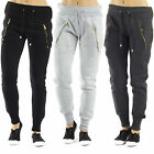 AM64 Womens Side Zipped Jogging Bottoms Ladies Fleece Backed Pants Joggers