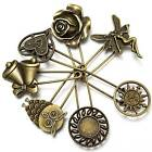 7 designs vintage safety pin brooch scarf shawl belt buckle matching clothes US