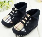 Toddler Baby Boy Black plaid Crib Shoes Sneaker Size Newborn to 18 Months/V