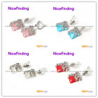 Fashion Jewelery Earring Square Beads Tibetan Silver Stud Valentines'Day  Gift