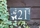 Engraved House Door Gate Number Slate Sign Plaque 76 - 100 With Butterflies