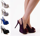 LADIES WOMENS PEEPTOE SLING BACK BRIDE BRIDESMAID HIGH HEEL SHOES SIZE 3-8