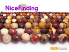 Natural Stone Mookaite Jasper Round Faceted Jewelry Making Loose Beads 15""