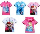 Girls Kids Frozen Elsa&Anna Summer Short Sleeve Top T-Shirt Cotton 2-8Y Clothing