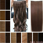 LONG WAVY CLIP IN HAIR PIECE EXTENSIONS 3/4 FULL HEAD HEAT RESISTANT VIA HUMAN