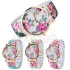 Women Elastic Band Designer Style Flower Printed Floral Girl Quartz Wrist Watch