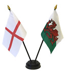 England and Wales Cymru Double Friendship Table Flag Set & choice of base