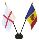 England and Andorra Double Friendship Table Flag Set & choice of base