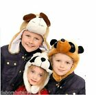 Childrens Animal Hat Kids Panda Meerkat Dog Hat Trapper Faux Fur HAT 56cm