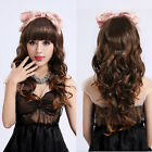 Neat Bang Sweet Women Long Full Wigs Wavy Curly Hair Cosplay Party Costume Wig
