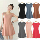 New Women Girl Mini Dress Short Sleeve Candy Color One-piece Slim Basic Dress